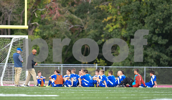 09/08/17 Wesley Bunnell   Staff Plainville Boys Soccer defeated visiting Bristol Eastern on Friday afternoon. The Bristol Eastern coaches speak with the team during the half.