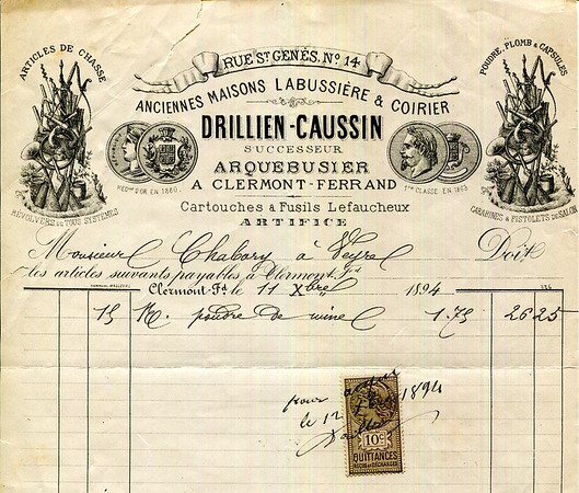 Invoice by Drillien-Causin of Clermont