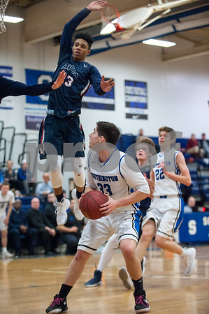 02/02/18 Wesley Bunnell | Staff Southington boys basketball was defeated 59-47 by Avon on Thursday night at Southington High School. Jeremy Mercier (33) lets the defenders fly past him then makes an easy shot uncontested.
