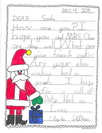 Mrs. Wilson's 2nd grade Letters to Santa, 12/14/2015