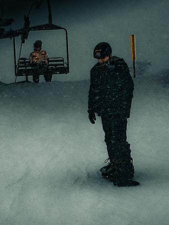 Snowboarding at Steven's Pass