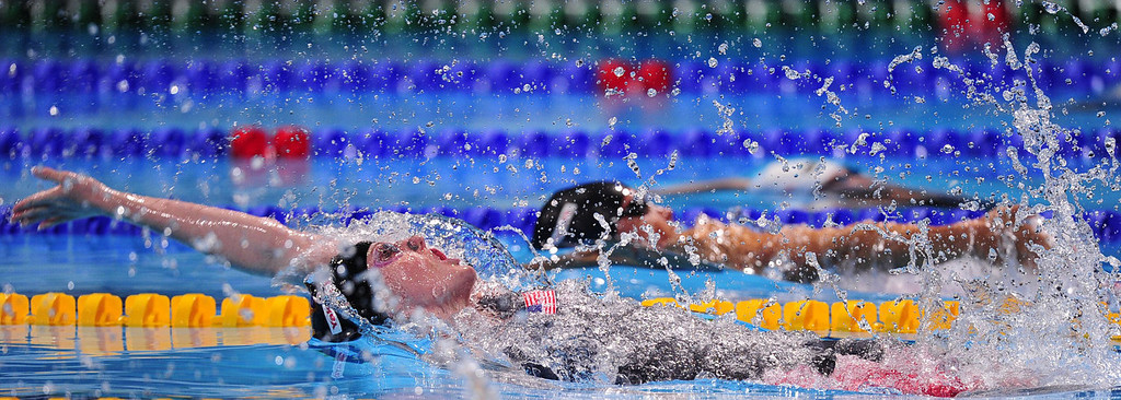. US swimmer Missy Franklin competes in the final of the women\'s 100-metre backstroke swimming event in the FINA World Championships at Palau Sant Jordi in Barcelona on July 30, 2013.  JOSEP LAGO/AFP/Getty Images