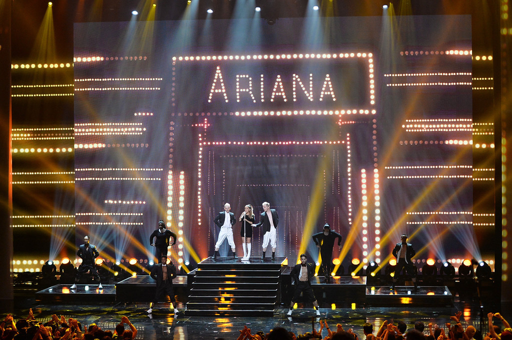 . LOS ANGELES, CA - MAY 01:  Singer Ariana Grande performs onstage during the 2014 iHeartRadio Music Awards held at The Shrine Auditorium on May 1, 2014 in Los Angeles, California. iHeartRadio Music Awards are being broadcast live on NBC.  (Photo by Kevin Winter/Getty Images for Clear Channel)