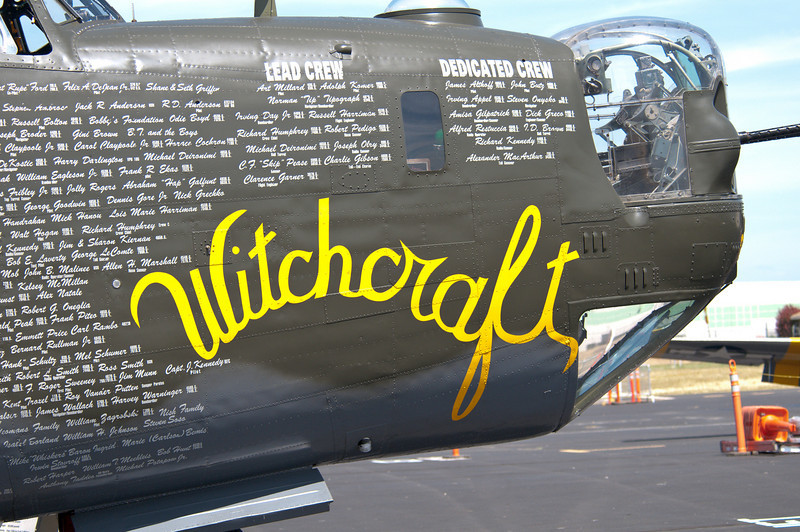 """WWII vintage B-24 """"Liberator"""" on display by the Collings Foundation at the Lincoln, CA airport."""