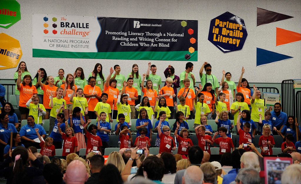 . June 22,2013 Los Angeles CA. Young blind kids start competing during The National Braille Challenge. These finalists were chosen from among more than 1000 blind and visually impaired students�representing 39 states and two Canadian provinces�during the preliminary round at Regional Braille Challenge events across the U.S. and Canada. They are a diverse group of high achievers�athletes, musicians and technology whiz kids. Most of them were born blind, but others lost their sight due to cancer or viral infections. They will be competing for up to $2500 in cash prizes, trophies and the latest adaptive equipment�including a Focus Blue 40 refreshable Braille display provided by Freedom Scientific, as well as an iPad sponsored by Palmer Langdon, to help connect them to the digital world.   Photo by Gene Blevins/LA Daily News