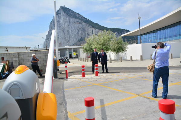 The Chief Minister of Gibraltar Fabian Picardo checking the new control barriers at the East Gate Commercial vehicle zone. The area is now supported by two controls, an initial security gate and a further traffic control barrier on exiting Gibraltar.