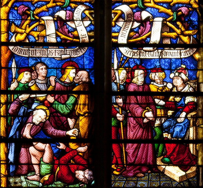 Chalons-en-Champagne Cathedral, The Passion Window, The Kiss of Judas and Christ before Pilate