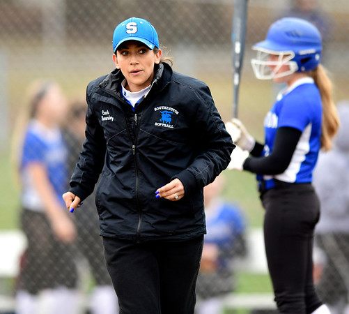 4/9/2019 Mike Orazzi | Staff Southington Softball Coach Davina Hernandez during Tuesday's softball game in Bristol.