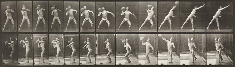 Man in pelvis cloth throwing rock (Animal Locomotion, 1887, plate 319)