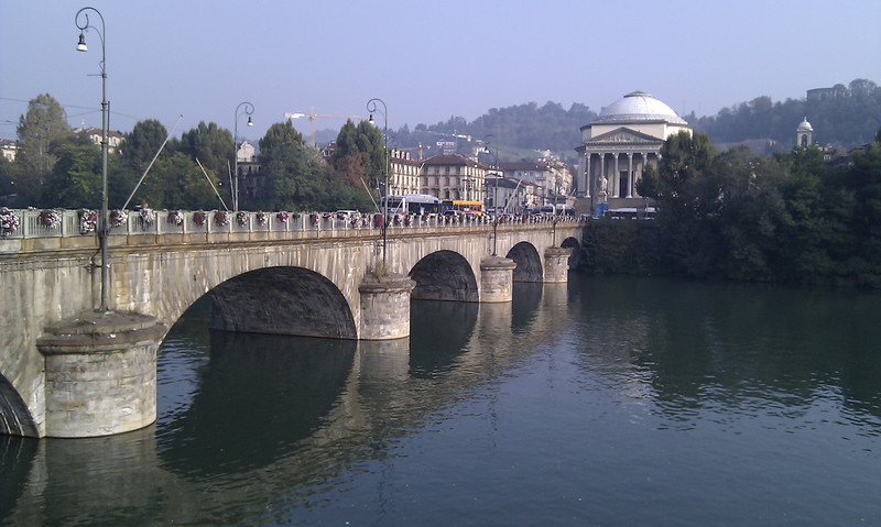 View of the river in Turin looking across at the Gran Madre di Dio