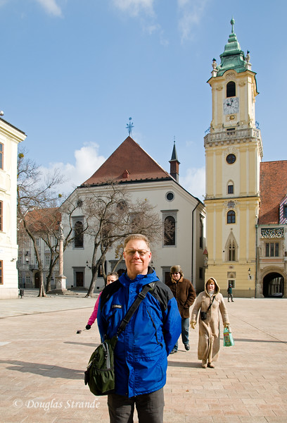 Doug in Bratislava, Old Town Hall in the background