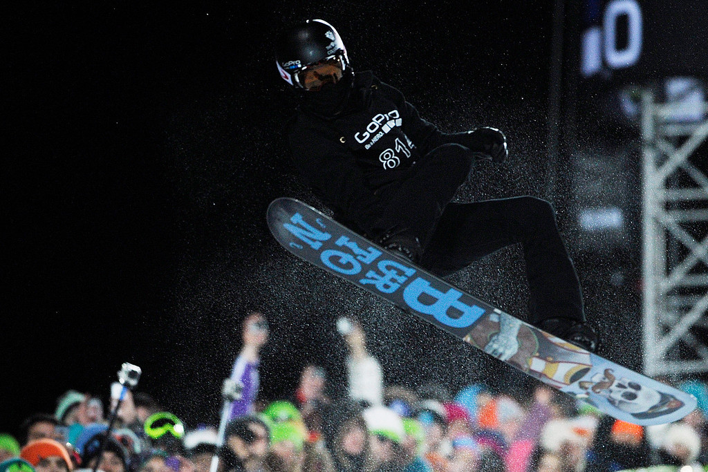 . ASPEN, CO - JANUARY 27: Shaun White makes a hit during the men\'s snowboard superpipe final. X Games Aspen Buttermilk Mountain Aspen January 27, 2013. (Photo By Daniel Petty/The Denver Post)