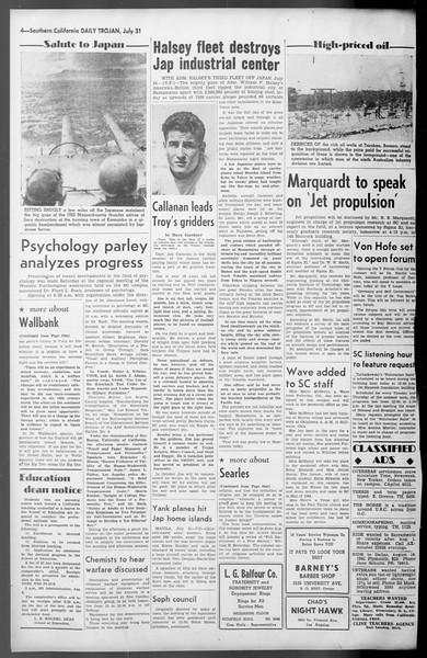 Daily Trojan, Vol. 36, No. 168, July 31, 1945