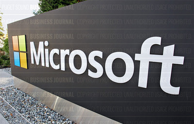 Pictured is the Microsoft logo on a sign at the company's headquarters campus in Redmond, Washington