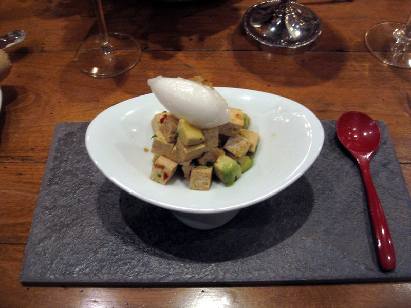 Mélange of Spicy Tofu with Avocado, Crispy Shallots, and Sake-Yuzu Sorbet.  Paired with Phillipe Gonet, Le Mesnil-sur-Oger, Rosé, Brut (N.V.).