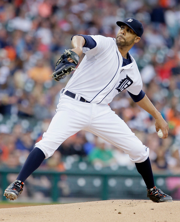 . Detroit Tigers pitcher David Price delivers against the Cleveland Indians during the first inning of a baseball game Friday, June 12, 2015, in Detroit. (AP Photo/Duane Burleson)