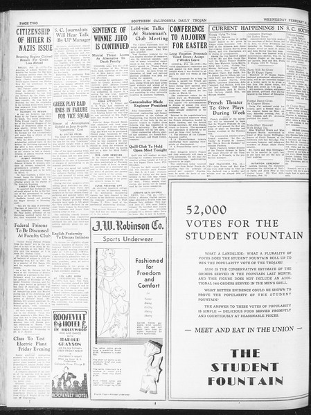 Daily Trojan, Vol. 23, No. 94, February 24, 1932