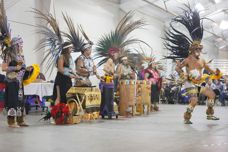 Tezkatlipoka Aztec Dance and Drum of San Jose performs at the 37th-annual Intertribal Gathering and Elders Dinner at Redwood Acres Fairgrounds in Eureka on Saturday. The event included a ceremony honoring elders and veterans, turkey and salmon dinner, drumming, dance demonstrations, and vendors. (Shaun Walker -- The Times-Standard)