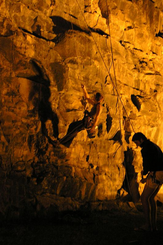 Slippery When Wet 17. Christabel  (left) climbing and Andrew (right) belaying. 13 Sep 05