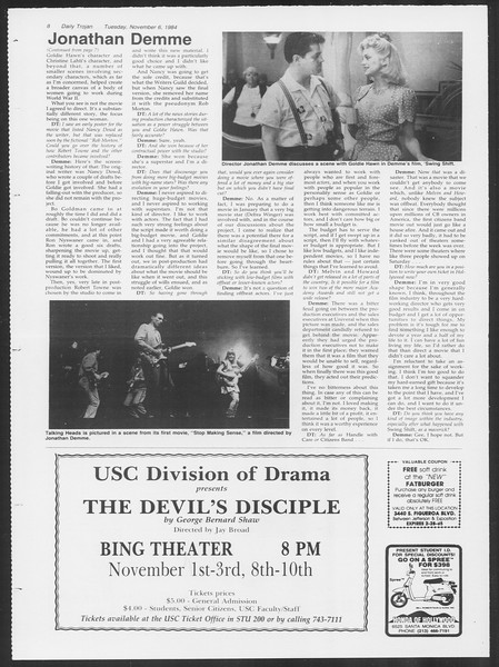 Daily Trojan, Vol. 97, No. 45, November 06, 1984