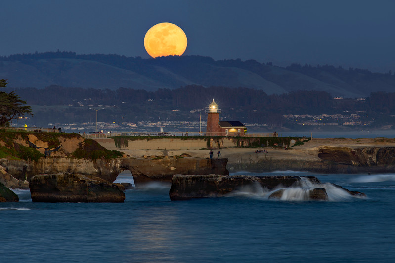 Moonrise over Steamer Lane