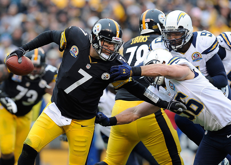 . Ben Roethlisberger #7 of the Pittsburgh Steelers avoids a sacks by Jarret Johnson #96 of the San Diego Chargers on December 9, 2012 at Heinz Field in Pittsburgh, Pennsylvania.  (Photo by Joe Sargent/Getty Images)