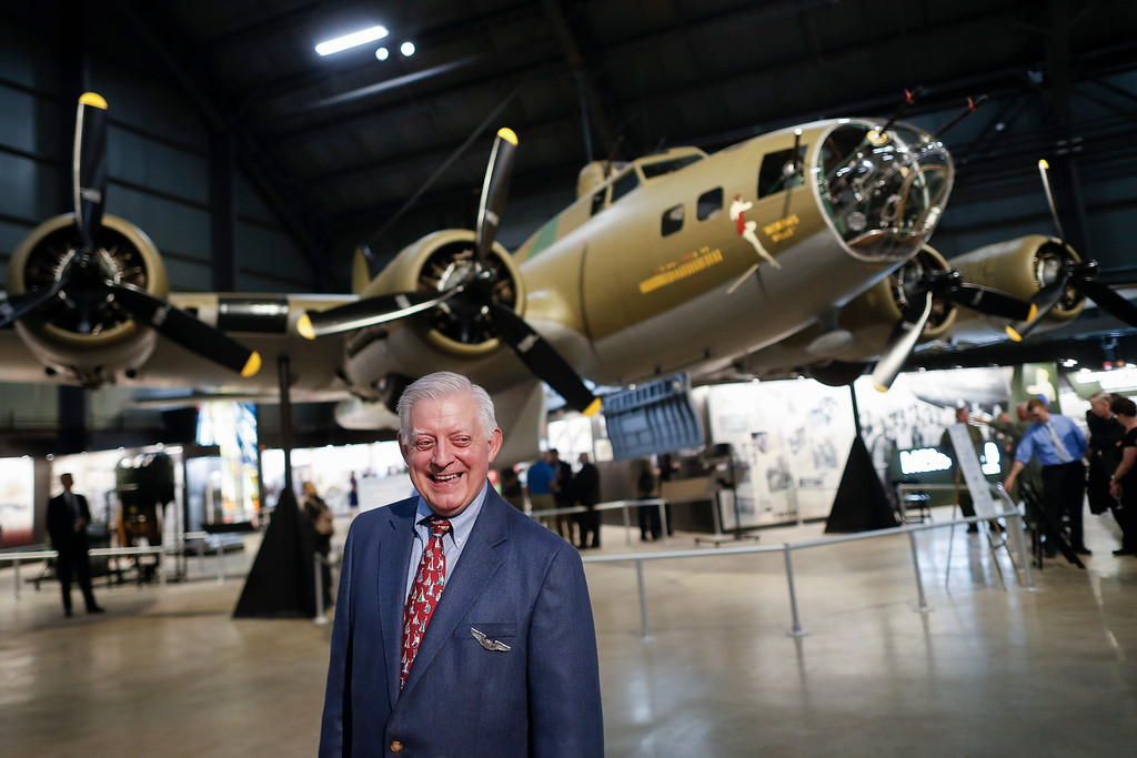 ". Robert K. Morgan, Jr., son of the Memphis Belle pilot of the same name, walks past the Boeing B-17 ""Flying Fortress\"" during a private viewing at the National Museum of the U.S. Air Force, Wednesday, May 16, 2018, in Dayton, Ohio. The World War II bomber Memphis Belle is set to go on display for the first time since getting a yearslong restoration at the museum. The B-17 �Flying Fortress� will be introduced Thursday morning as the anchor of an extensive exhibit in the Dayton-area museum�s World War II gallery. (AP Photo/John Minchillo)"