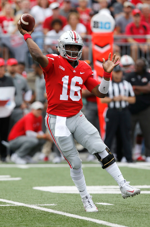 . Ohio State quarterback J.T. Barrett throws a pass against Army during the first half of an NCAA college football game Saturday, Sept. 16, 2017, in Columbus, Ohio. (AP Photo/Jay LaPrete)