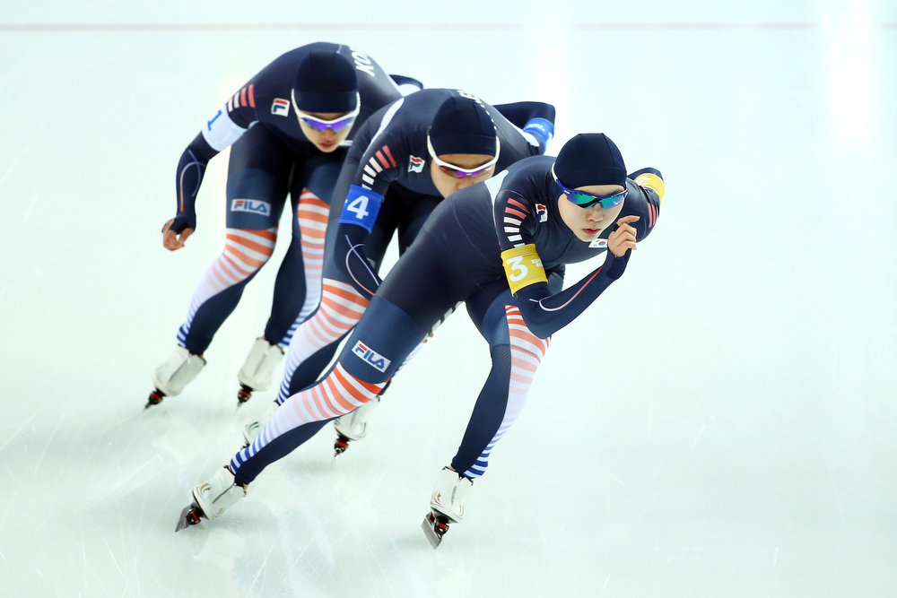 . (L to R) Bo Reum Kim, Shin Young Yang and Seon Yeong Noh of South Korea compete during the Women\'s Team Pursuit Final D Speed Skating event on day fifteen of the Sochi 2014 Winter Olympics at  at Adler Arena Skating Center on February 22, 2014 in Sochi, Russia.  (Photo by Ryan Pierse/Getty Images)