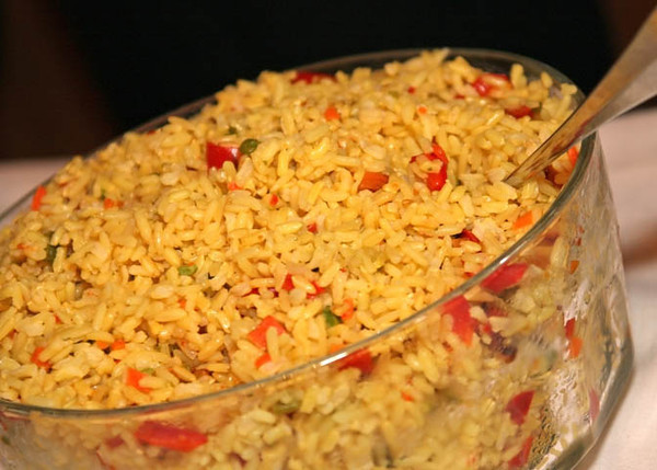 Vegetable rice to accompany a hog roast as a wedding breakfast at Dairy Barns