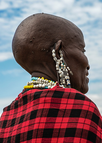 Masai woman wearing traditional earnings.  Tanzania, 2019.