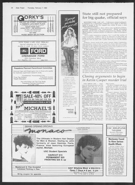 Daily Trojan, Vol. 98, No. 20, February 07, 1985