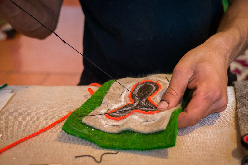 Learning how to make a shyrdak felt craft