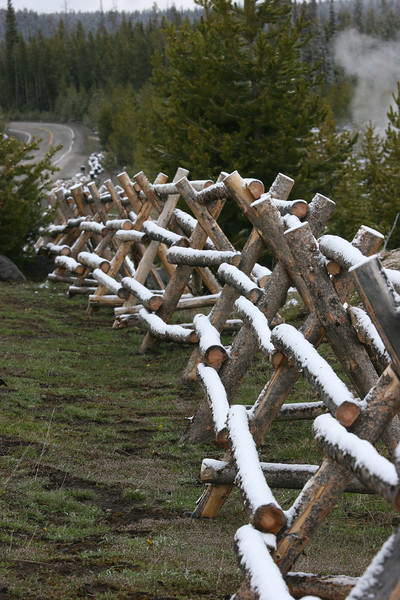 jackleg fencing - doesn't requires digging holes - lodgepole pines are so abundant, there are many uses for them - notice steam off to the right
