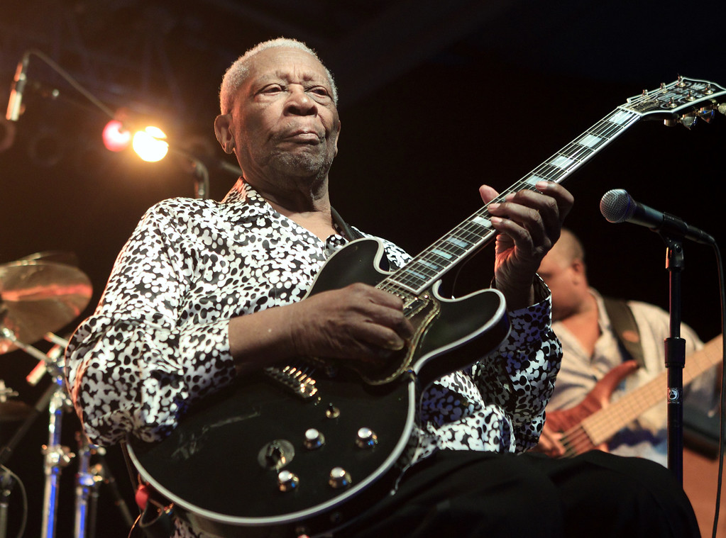. Blues music legend BB King performs on Frampton�s Guitar Circus 2013 Tour at Pier Six Pavilion on Thursday, Aug. 8, 2013, in Baltimore. (Photo by Owen Sweeney/Invision/AP)