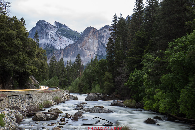 Merced River at Yosemite Time-exposure lights 2