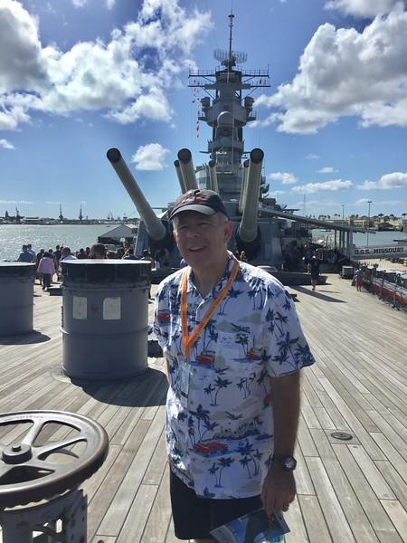 John on the deck of the USS Missouri