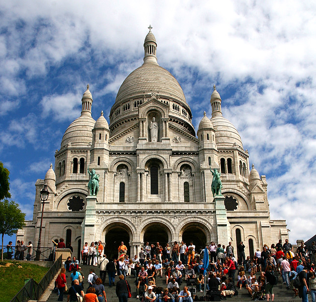 Beautiful Sacre Coeur Church, at the top of the Montmartre area.  It's a favourite place to sit and watch the world go by