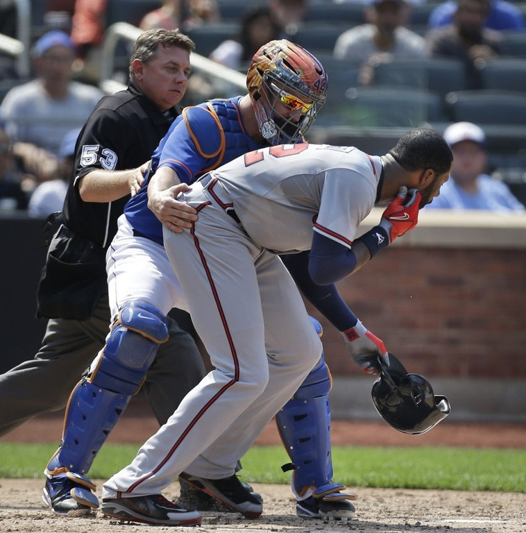 ". <p>10. (tie) JASON HEYWARD <p>Met�s fastball was just a bit outside. Outside his jaw. (previous ranking: unranked) <p><b><a href=\'http://www.cbssports.com/mlb/eye-on-baseball/23251814/jason-heyward-leaves-game-after-taking-pitch-to-the-face\' target=""_blank\""> HUH?</a></b> <p>    (AP Photo/Seth Wenig)"