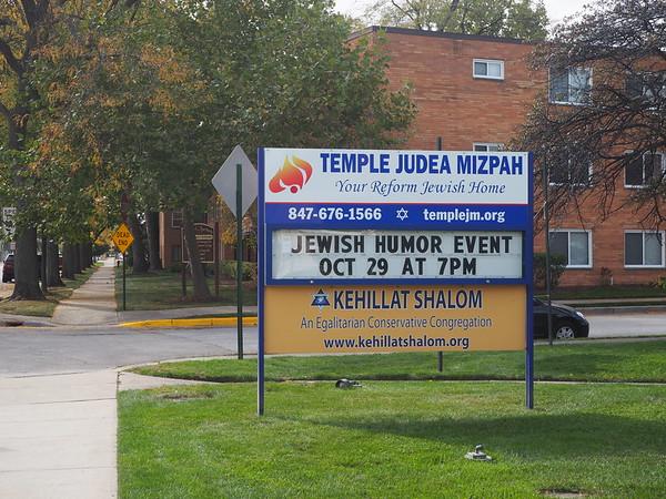 A sign for Temple Judea Mizpah announcing a JEWISH HUMOR EVENT