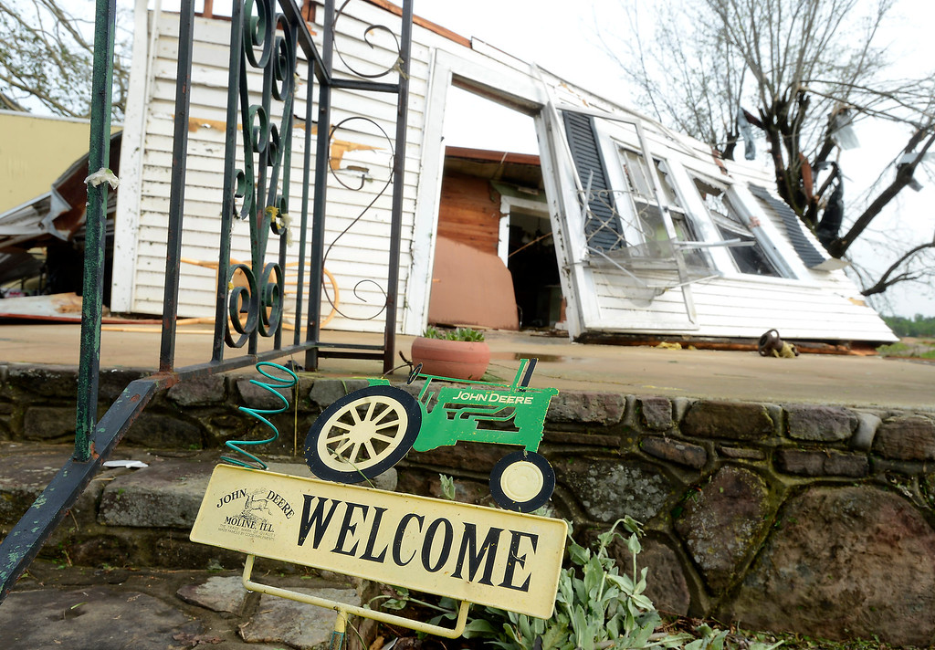 . A house is destroyed when a tornado passed in the Straight Mountain community of Blount County, Ala., Tuesday, April 29, 2014.  (AP Photo/ AL.com, Mark Almond)