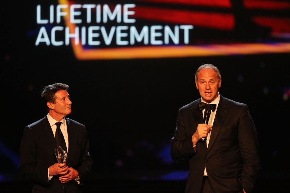 ". Laureus Academy Member Sir Steve Redgrave speaks as the ""Laureus Lifetime Achievement Award\"" is given to Laureus Academy Member Lord Sebastian Coe during the awards show for the 2013 Laureus World Sports Awards at the Theatro Municipal Do Rio de Janeiro on March 11, 2013 in Rio de Janeiro, Brazil.  (Photo by Ian Walton/Getty Images For Laureus)"