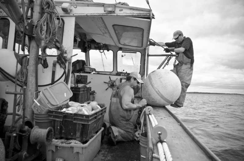 46. Setting moorings, pulling lobster traps, Casco Bay, Maine, May 2013.