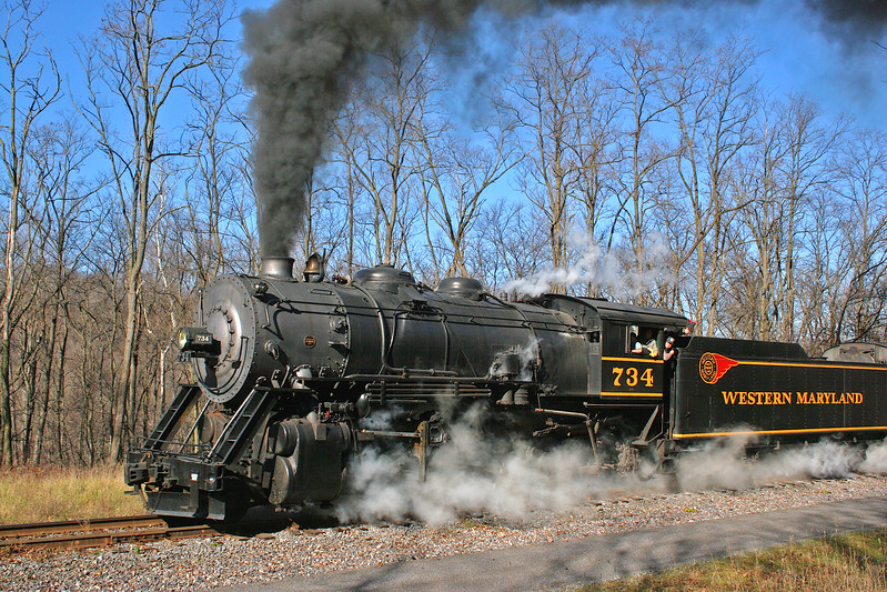 WMSR #734 steaming on a clear cold November day Western Maryland Scenic Railroad