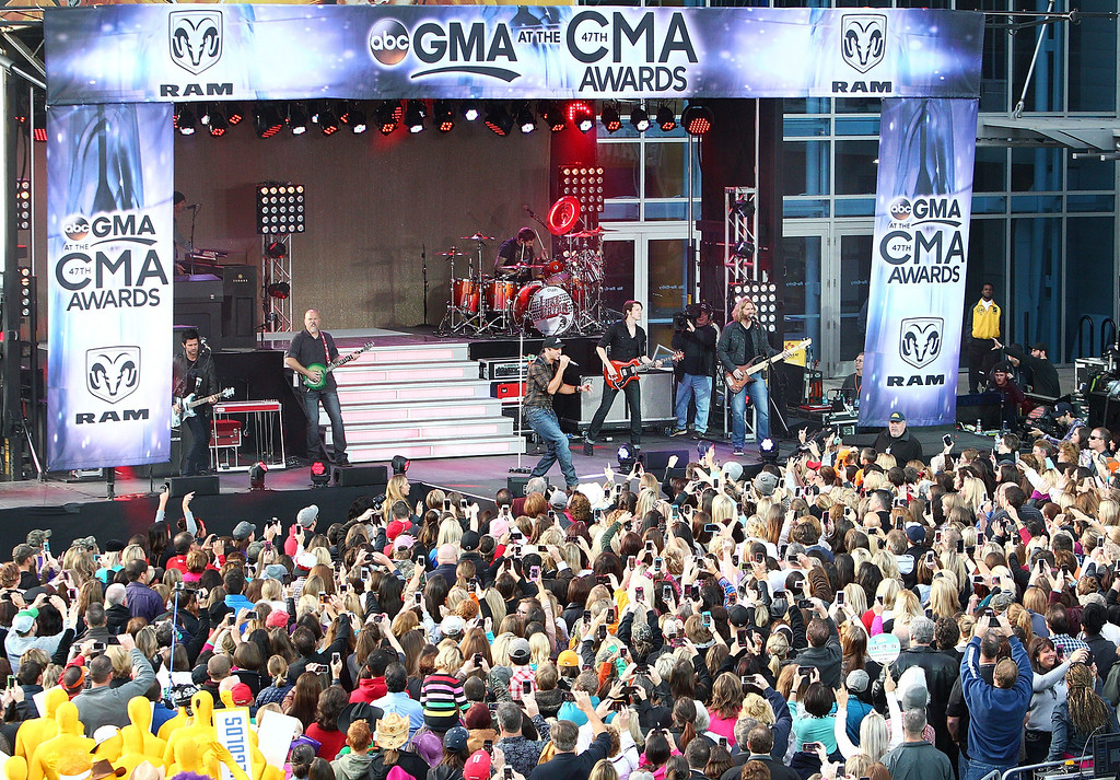 ". NASHVILLE, TN - NOVEMBER 06:  Luke Bryan performs on ABC\'s ""Good Morning America\"" outside of the Bridgestone Arena ahead of the CMA Awards on November 6, 2013 in Nashville, Tennessee.  (Photo by Marianna Massey/Getty Images)"