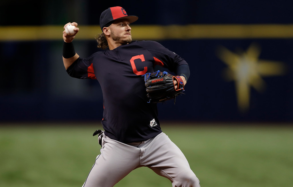 . Cleveland Indians third baseman Josh Donaldson takes infield practice before a baseball game against the Tampa Bay Rays Monday, Sept. 10, 2018, in St. Petersburg, Fla. (AP Photo/Chris O\'Meara)