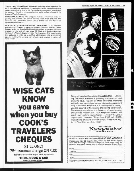 Daily Trojan, Vol. 60, No. 111, April 28, 1969