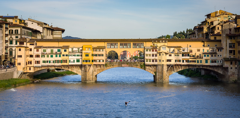 'Ponte Vecchio and Lone Rower', Florence, Italy
