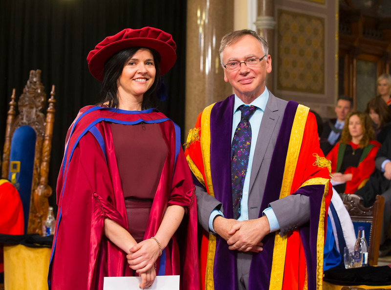 02/11/2017. Waterford Institute of Technology Conferring. Pictured is Sinead Mellett from Ennis Co. Clare who was conferred a PhD, also pictured is Prof. Willie Donnelly, President of WIT.  Picture: Patrick Browne.