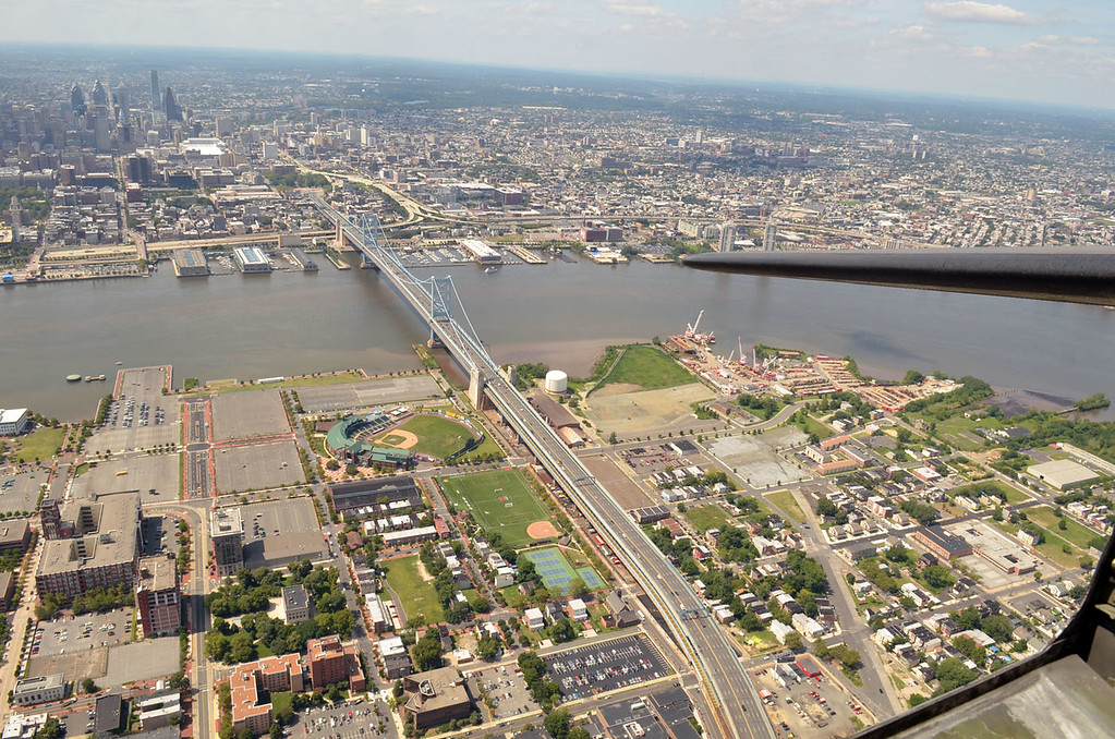 """. The view from the \""""Memphis Belle\"""" over the Philadelphia and Camden waterfront.     Monday, August 18, 2014.   Photo by Geoff Patton"""